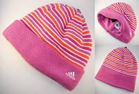 Шапка детская зимняя Adidas STRIPY WOOLIE флисовая с заворотом 59507