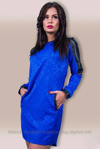 Платье женское вставки кожи