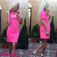 Женское платье облегающее средней длины на груди декоративный вырез масло розовое 5029 МТ