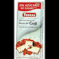 Белый шоколад без глютена и сахара Torras White with Goji  с ягодами годжи 75 г., фото 1