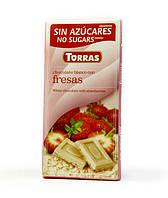 Белый шоколад без глютена и сахара Torras Fresas  с клубникой 75 г., фото 1