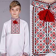 Детская вышиванка для мальчика крестиком Руслан красно-черный От 3 до 9 лет