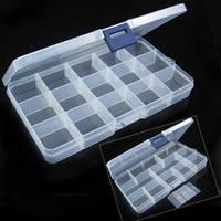 Органайзер (коробочка) для мелкой фурнитуры на 15 ячеек (со съёмными перегородками), фото 1
