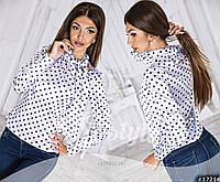Женская атласная блуза в горох воротник-бант