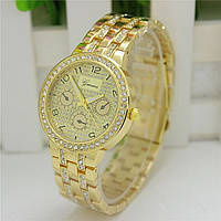 Женские часы Geneva Swarovski Rhinestone золотые со стразами