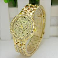 Женские часы Geneva Swarovski Rhinestone золотые со стразами, фото 1