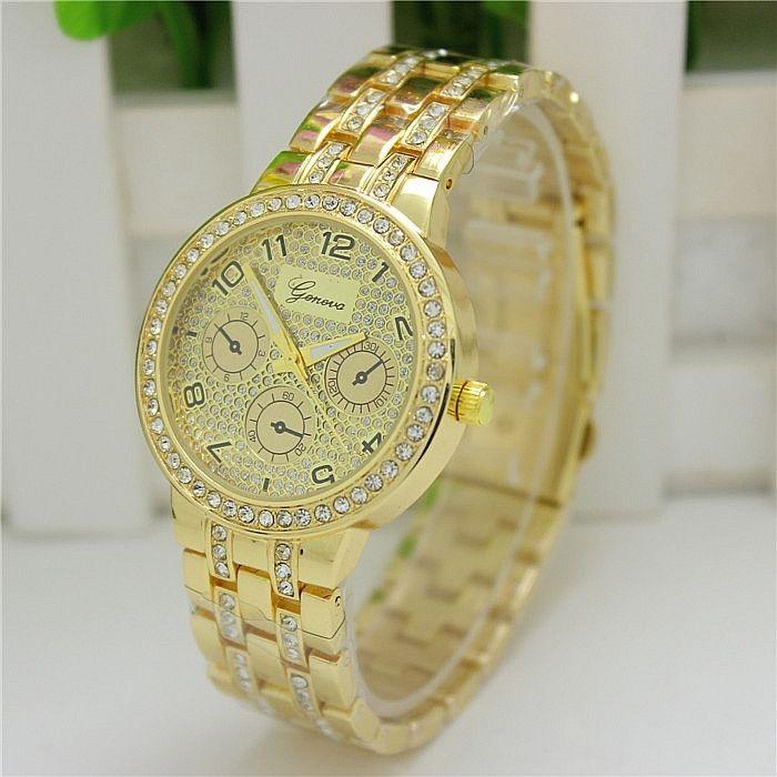 058e46aa9e51 Женские часы Geneva Swarovski Rhinestone золотые со стразами -  PrettyLady.com.ua в Каменском