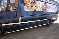 Mercedes Sprinter 2006+ и 2013+ гг. Молдинги на дверь (нерж.) Средняя база. Carmos - Турецкая сталь