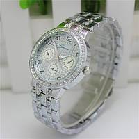 Женские часы Geneva Swarovski Rhinestone серебряные со стразами