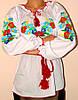 Женская вышиванка с незабудками и колосками