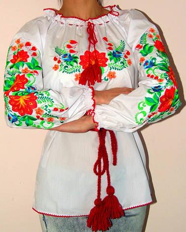 Женская вышиванка с красивыми цветами, фото 2