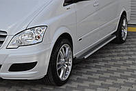 Mercedes Vito W639 2004-2015 гг. Боковые площадки Line (2 шт., алюм.) Длинная (ExtraLong)