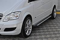 Mercedes Vito W639 2004-2015 гг. Боковые площадки Line (2 шт., алюм.) Короткая (short) и Средняя (long)