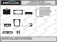 Audi A3 2004-2012 гг. Декоративные накладки салона (Хартман) Черный цвет