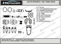 Alfa Romeo 156 1997-2007 гг. Накладки на панель (Hartman) Алюминий