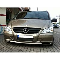 Mercedes Vito W639 2004-2015 гг. Накладка на бампер + губа (под покраску) 2004-2010