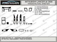 Mitsubishi Lancer X 2008+ гг. Накладки на панель (Hartman) Карбон плюс