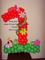 Единица из шаров с цветочной поляной., фото 3