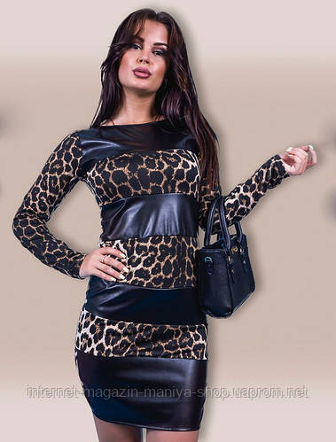 Платье женское леопард вставки кожи