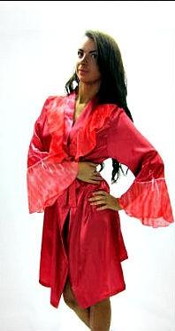 """Шелковый халат """"Джессика"""" красный"""