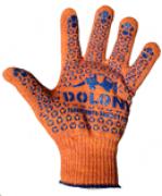 Перчатки трикотажные с точкой ПВХ оранжевые Арт. 526 (Украина)