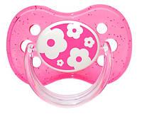 Пустышка Nature силиконовая круглая, розовая с цветочками, 18 мес, Canpol babies (22/415-5)