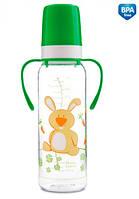 Тритановая бутылочка с ручками 250 мл (салатовый зайчик), Canpol babies (11/845-3)