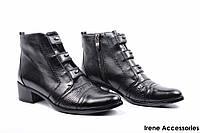 Ботинки женские кожаные Geronea (ботильоны низкие, байка)