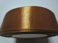 Лента атлас 2,5 см рыже-коричневая