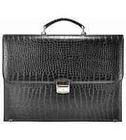 Портфель мужской кожаный Crocodile черный , фото 1