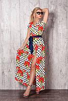 Длинное летнее платье на запах с поясом молочного цвета с гвоздиками