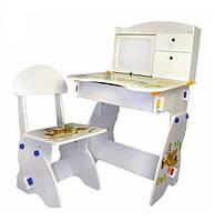 Функциональная детская парта с регулировкой высоты Bambi W 072, стульчик, мольберт, полочки