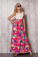 Летнее платье в пол с гипюровым верхом кремового цвета и малиновой шелковой юбкой