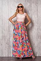 Длинное летнее платье персикового цвета с верхом из гипюра и юбкой из шелка
