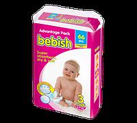 Bebish junior Детские подгузники 60 шт, Размер 3 (4-9 кг)