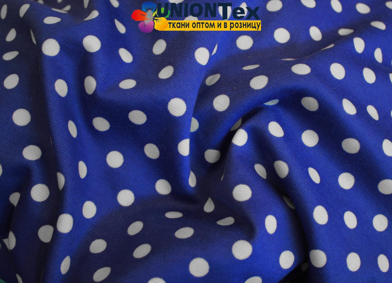 Французский трикотаж принт горох (белый горох на синем фоне)