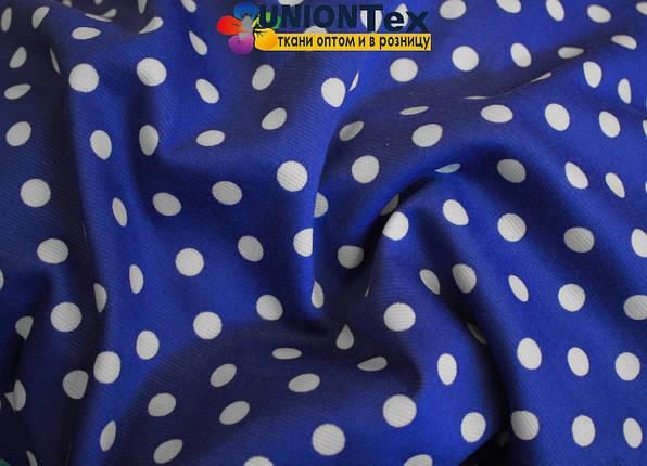 Французский трикотаж принт горох (белый горох на синем фоне), фото 2