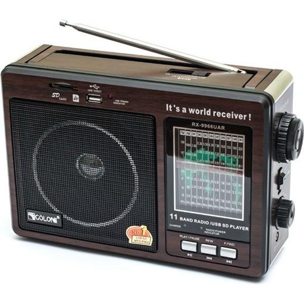 Радиоприемник Golon RX-9966UAR Чувствительный диапазон FM/TV/MW/SW+USB+Встроенный аккумулятор Питание AC/DC