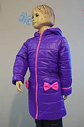 Пальто для девочки демисезонное цвета фиалки