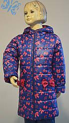 Пальто для девочки демисезонное с принтом