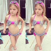 Детский модный купальник Морской розовый бант