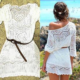 Женская легкая платье, пляжная туника S-M