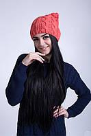 Женская теплая шапка крупной вязки