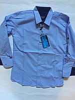 Рубашка для мальчиков,цвет голубой, приталеная  7-12 лет