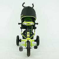 Детский 3 колесный велосипед с ручкой 6588 В, колеса 10/12 дюймов, фара, зеленый