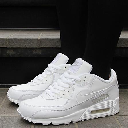 87741484612e5b Кроссовки в Стиле Nike Air Max 90 Leather All White Мужские — в ...