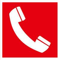 Наклейка: Телефон для использования при пожаре 150х150