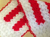 Мочалка вязанная ручной работы (Турция) длинная красная с белым