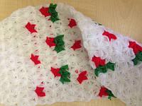 Мочалка вязанная ручной работы (Турция) длинная белая с цветами