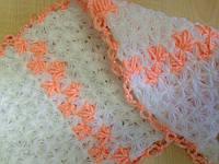 Мочалка вязанная ручной работы (Турция) длинная белая с оранжевым